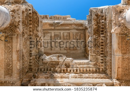 Ruins of Celsius Library in ancient city Ephesus (Efes), Izmir, Turkey. Royalty-Free Stock Photo #1835235874