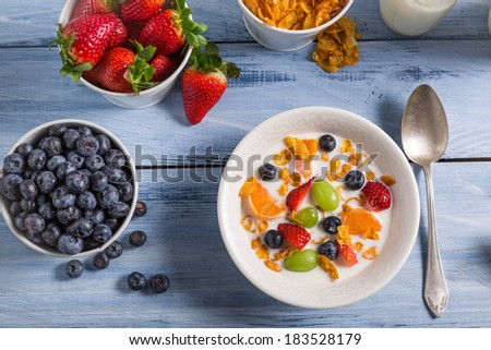 Ingredients for a healthy and tasty breakfast #183528179