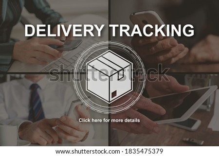 Delivery tracking concept illustrated by pictures on background