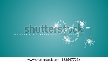 We wish You a Happy New Year 2021 double line design with sparkle firework white trendy sea green background #1835477236