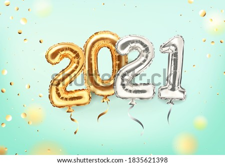 2021 golden decoration holiday on mint background. Shiny party background. Gold foil balloons numeral 2021 and confetti. Happy new year 2021 holiday. Realistic 3d vector illustration #1835621398