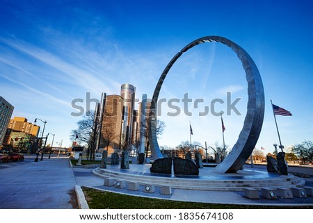 View of Michigan Labor Legacy Monument on Hart Plaza near river embarkment in Detroit, USA