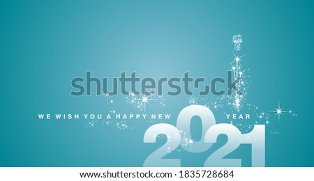 We wish you a Happy New Year 2021 white sea green aqua color greeting card #1835728684