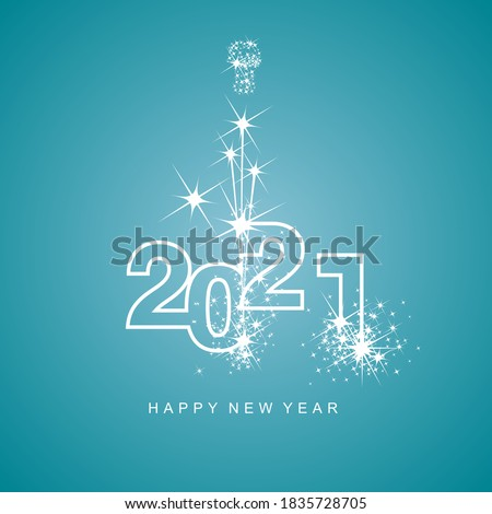 Happy New Year 2021 greetings firework white line design numbers white sea green aqua color background #1835728705