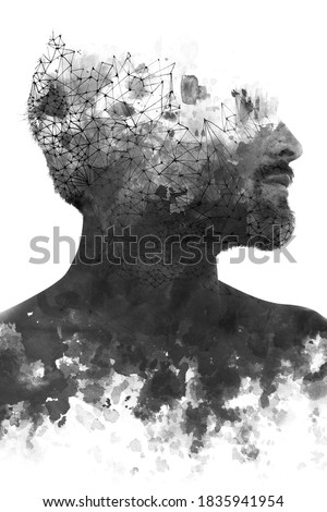 Paintography. Double exposure portrait of a man with strong features combined with handmade painting of repetitive lines which dissolve into his skin