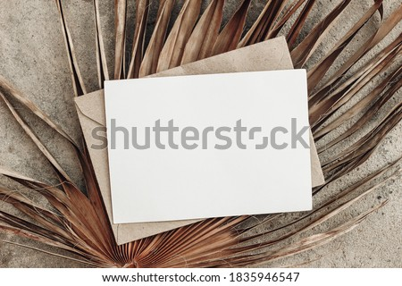 Summer stationery still life. Closeup of blank card mock-up and craft envelope on dry palm leaf. Grunge beige concrete background. Flat lay, top view, tropical vacation concept. Moody boho design. Royalty-Free Stock Photo #1835946547