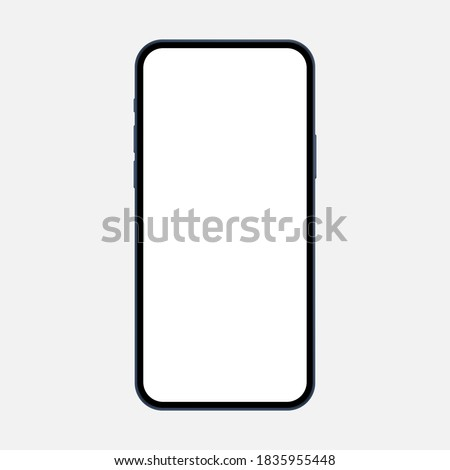 Modern smartphone mockup with blank screen isolated on white background, front view. Vector illustration