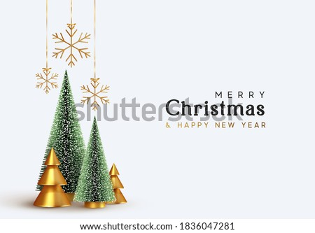 Christmas and New Year background. Xmas pine fir lush tree. Conical Abstract Gold Christmas Trees. Snowflakes hanging on ribbon. Bright Winter holiday composition. Greeting card, banner, poster #1836047281