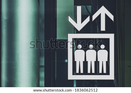 Elevator sign mark close up