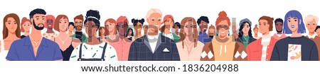 Portrait of diverse people standing together vector flat illustration. Group man and woman of different nationality and ages isolated. United of various generations. Social diversity or population Royalty-Free Stock Photo #1836204988