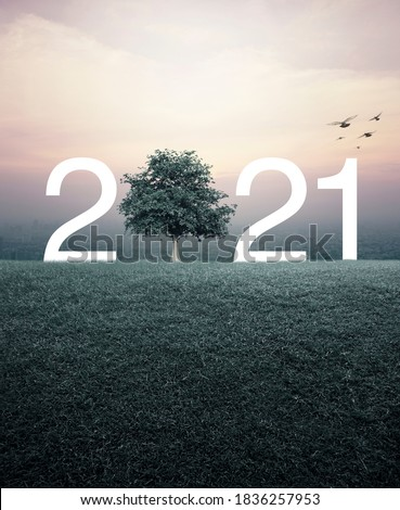 2021 with tree on green grass field over aerial view of cityscape at sunset, vintage style, Happy new year 2021 ecological concept #1836257953