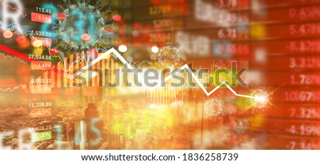 Abstract Stock market, Crash recession chart with falling on red board, Representing the stock market crash caused business and financial crisis by the coronavirus, Covid-19 Royalty-Free Stock Photo #1836258739