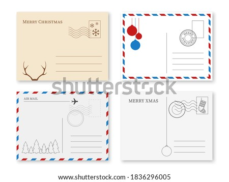 Christmas postcard. Vintage holiday postal card with stamp and winter elements new year greeting message, invitation letter and posting frame, kraft and white paper back side vector isolated set Royalty-Free Stock Photo #1836296005