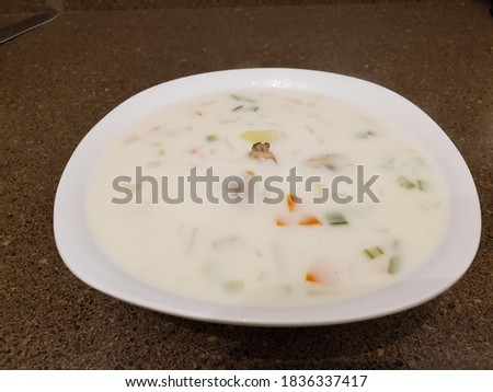 Home made clam chowder made from fresh organic ingredients