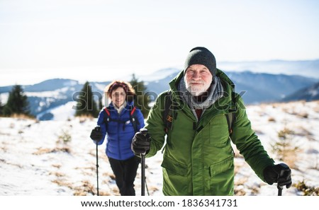 Senior couple with nordic walking poles hiking in snow-covered winter nature. Royalty-Free Stock Photo #1836341731