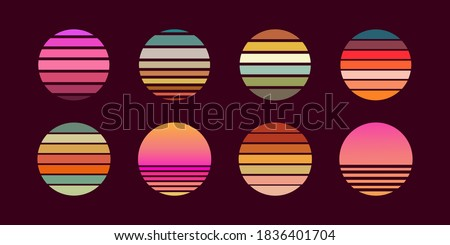 Collection of retro sunsets in the style of the 80-90s. Abstract background with a sunny gradient. Bright colors. Design template for logo, icons, banners, prints. Isolated dark background. Vector Royalty-Free Stock Photo #1836401704