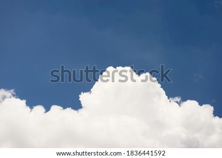 Dramatic panorama view of buautiful form of soft white clouds and summer morning blue sky  for meteorology  forcast background. Royalty-Free Stock Photo #1836441592
