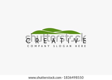 Landscape Hills logo design vector illustration. green Hill icon.usable for business and golf logo,isolated on white background Royalty-Free Stock Photo #1836498550