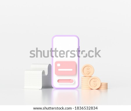 3D Online mobile payment concept and mobile banking transaction. 3D render illustration Royalty-Free Stock Photo #1836532834