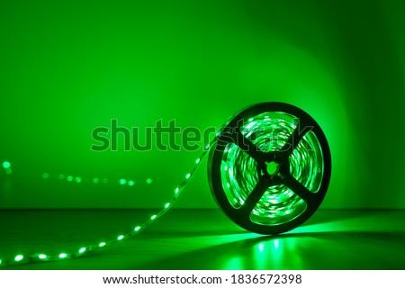 led strip green light roll Royalty-Free Stock Photo #1836572398