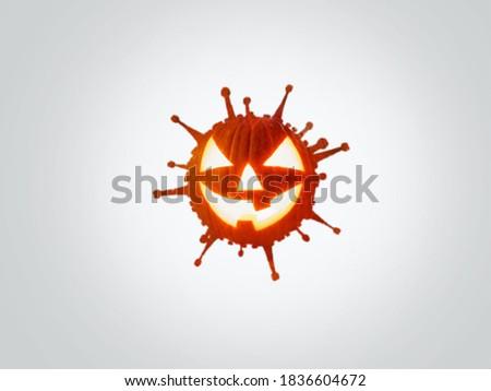 Halloween Pumpkins on coronavirus. Halloween corona virus concept. Halloween Pumpkins shape of coronavirus.