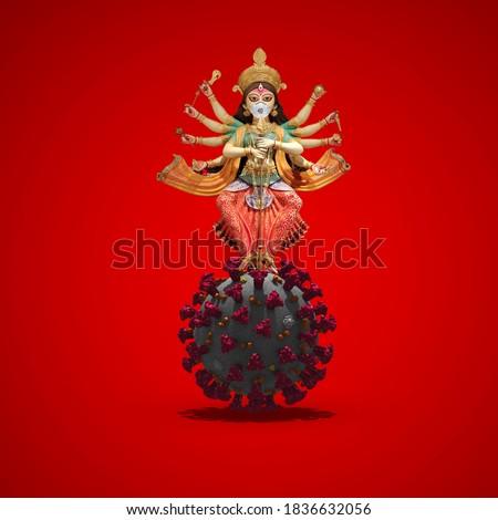 Indian Religion Festival Durga Puja, killing coronavirus by trishul Durga,  coronavirus durga puja,Happy Durga Puja Subh Navratri,covid-19, corona virus concept. Royalty-Free Stock Photo #1836632056