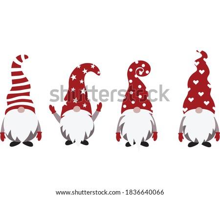 Christmas Gnome Vector Illustration, Scandinavian Nordic Gnome, Cute Christmas Santa Gnome Elf #1836640066