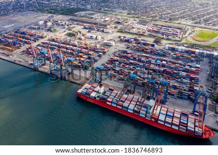 ship loading in the port of Santos in São Paulo, Brazil, seen from above, many containers in the port Royalty-Free Stock Photo #1836746893