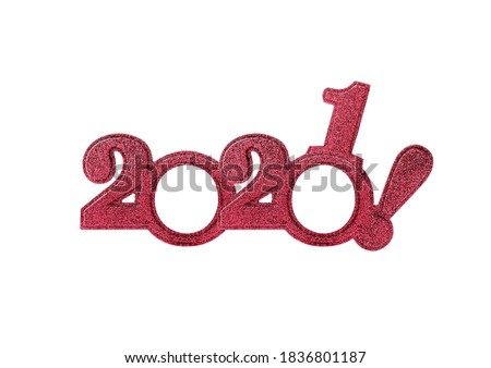 2021 numbers isolated. Two thousand twenty first New Year Holiday glasses in the form of figures two thousand twenty first on a white background. Royalty-Free Stock Photo #1836801187