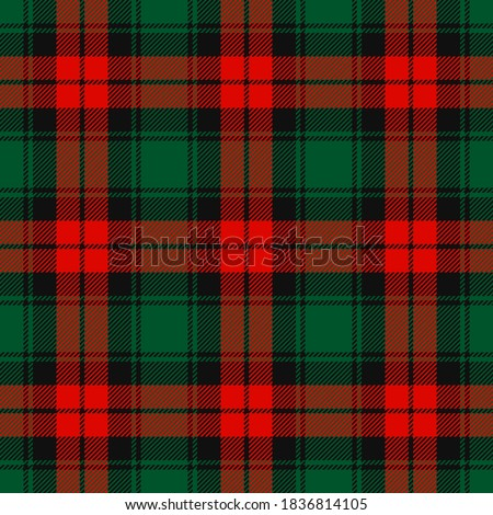 Christmas Red, Dark Green and Black Tartan Plaid Vector Seamless Pattern. Rustic Xmas Background. Traditional Scottish Woven Fabric. Lumberjack Shirt Flannel Textile. Pattern Tile Swatch Included. #1836814105