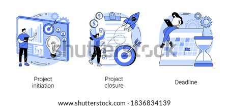 Project lifecycle abstract concept vector illustration set. Project initiation and closure, deadline, documentation, business analysis, stakeholder approval, work time, due date abstract metaphor. Royalty-Free Stock Photo #1836834139