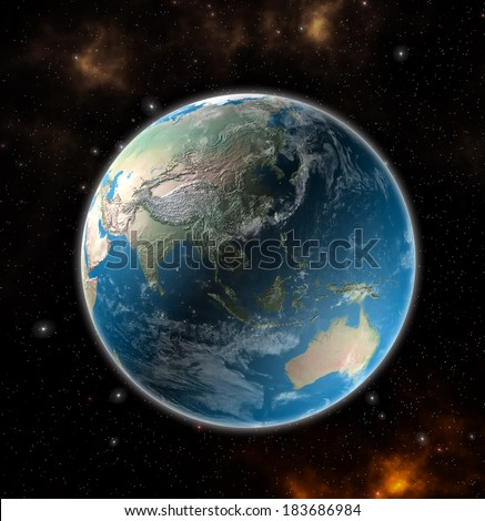 View on the Earth from space showing Asia and Australia - Elements of this image furnished by NASA #183686984