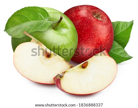 Red and green apples with leaves. Apple clipping path. The picture is ready to use in any design.