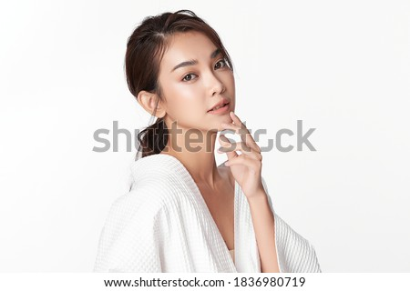 Beautiful young asian woman with clean fresh skin on white background, Face care, Facial treatment, Cosmetology, beauty and spa, Asian women portrait Royalty-Free Stock Photo #1836980719