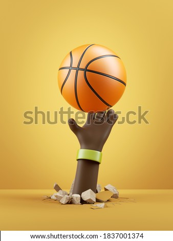 3d render, cartoon character dark skin tone hand holds basketball ball, isolated on yellow background. Sport clip art