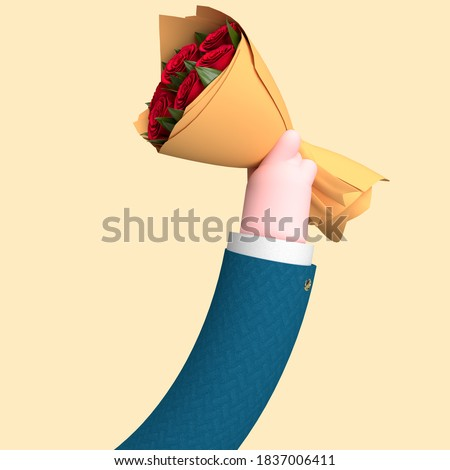 Illustration 3D of an arm holding flowers, a bouquet, concept of love, saint valentin, roses, dating, render 3d. Royalty-Free Stock Photo #1837006411
