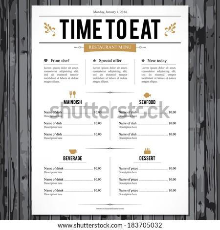 Restaurant menu design Royalty-Free Stock Photo #183705032