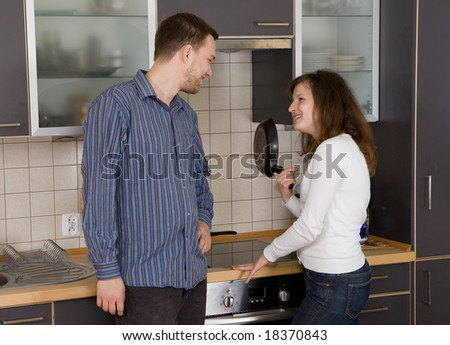 casual couple together in modern kitchen #18370843
