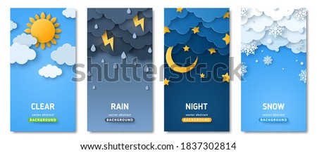 Vertical posters set with fluffy clouds. Weather forecast app widgets. Thunderstorm, rain, sunny day, night and winter snow. Vector illustration. Paper cut style. Place for text Royalty-Free Stock Photo #1837302814