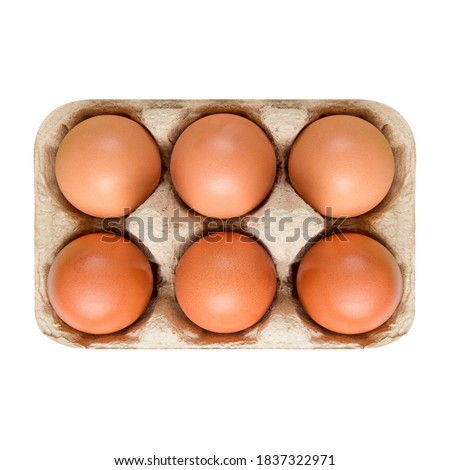 Packing, box of brown, beige eggs isolated on white background. top view, 6 pieces.