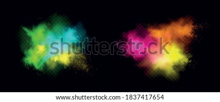 Explosions of color powder, paint dust with particles. Vector realistic set of colorful ink splashes, burst effect of powder clouds and spray isolated on transparent background Royalty-Free Stock Photo #1837417654
