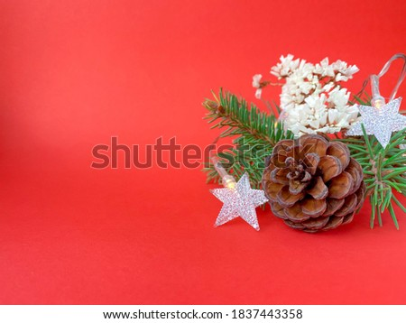 Fir tree branches with Christmas decoration on red background. Free copy space. High quality photo