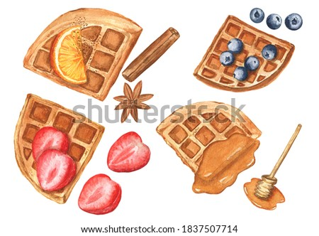Set of Belgian waffles with strawberries, blueberries, orange slice, honey topping, cinnamon stick and anise star. Watercolor hand-drawn elements on a white isolated background.