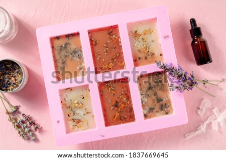 Handmade soap, the process of making. Glycerin with herbs, poured into a special mold for drying, shot from the top on a pink background Royalty-Free Stock Photo #1837669645
