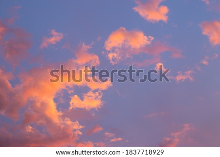 Dramatic, bright sky with Cumulus clouds before sunset, sunrise. Royalty-Free Stock Photo #1837718929