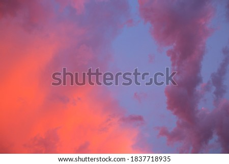 Dramatic, bright sky with Cumulus clouds before sunset, sunrise. Royalty-Free Stock Photo #1837718935