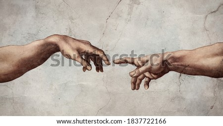 Hands reaching Creation of Adam. Oil and fresco artwork in the style of old renaissance and Michelangelo or Leonardo wall paintings.