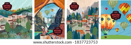 Nature landscape. Vector illustration of nature, mountains, villages, travel in a tent, architecture and balloons. Drawings for poster, postcard or background   #1837723753