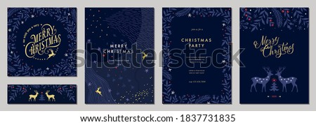 Modern universal artistic templates. Merry Christmas Corporate Holiday cards and invitations. Abstract frames and backgrounds design. Vector illustration. #1837731835