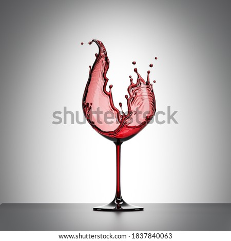 3d render, red liquid splash in the shape of wineglass, alcohol drink splashing wine clip art isolated on white background
